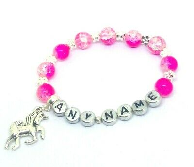 Personalised Handmade Sparkly Pink girls Unicorn Bracelet party bags Girly gift