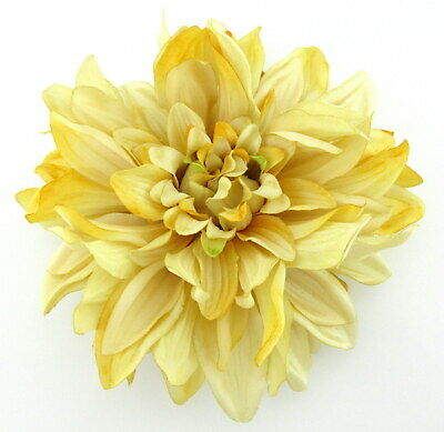 """Large 6"""" Golden Yellow Dahlia Poly Silk Flower Hair Clip,Pin Up,Updo,Hat"""