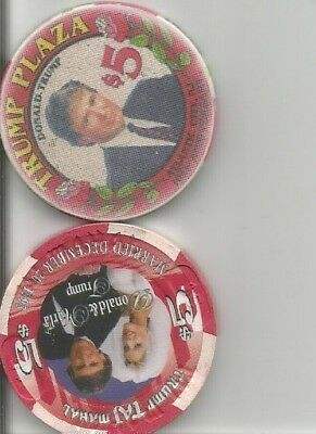 (2) donald trump plaza & taj mahal  obsolete, casino chips atlantic city lot