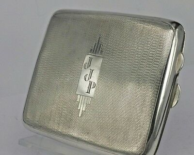 Solid silver Art deco 1934 silver cigarette case can be useful as a card case