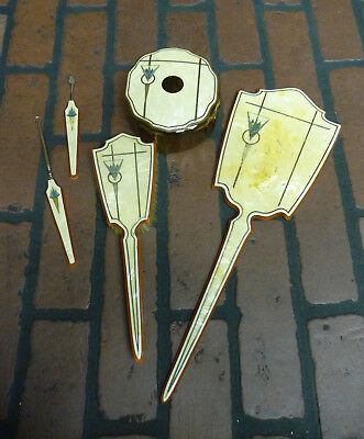 Vintage Celluloid Vanity Dresser Set Mirror Hair Brush Amber Powder Jar 6 Pcs