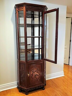 Chinese Antique Rosewood Hand Carved Dragons Curio Cabinet, Free Local Pickup