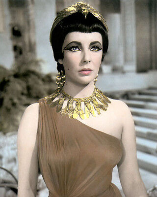 """ELIZABETH TAYLOR CLEOPATRA 1963 HOLLYWOOD ACTRESS 8x10"""" HAND COLOR TINTED PHOTO"""