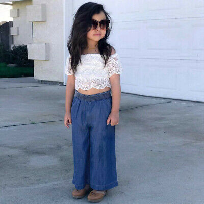 Toddler Kids Baby Girls Outfits Clothes Lace T-shirt Top+Denim Pants Jeans Set