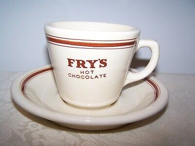 Fry's Hot Chocolate Advertising Restaurant / Hotel Ware Thick Cup And Saucer