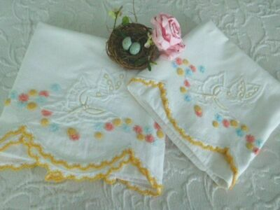 BEST VINTAGE Hand Embroidered BUTTERFLY Bullion ROSES Crochet LACE Pillowcases