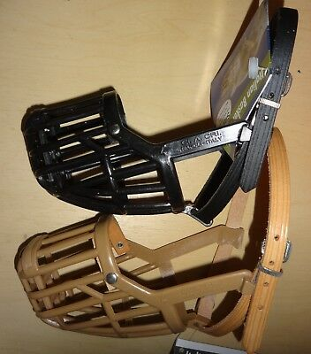 Italian Basket Dog Muzzle Leather Brothers OmniPet - Size 4, Tan & Black - NEW