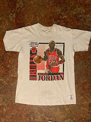 8656c531b1bf38 Vintage 91 Chicago Bulls Michael Jordan Nutmeg Mills T-Shirt Sz L Single  Stitch