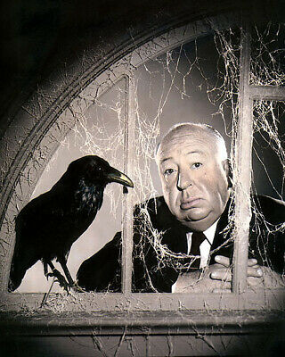 """ALFRED HITCHCOCK THE BIRDS DIRECTOR PRODUCER 1963 4x6"""" HAND COLOR TINTED PHOTO"""