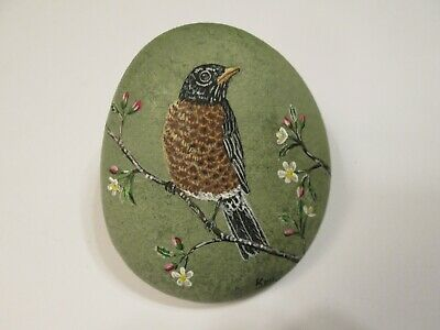 American Robin hand painted on a rock Ann Kelly