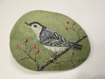 White Breasted Nuthatch hand painted on a rock Ann Kelly
