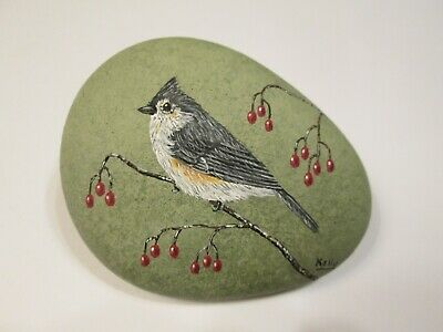 Tufted Titmouse hand painted on a rock Ann Kelly