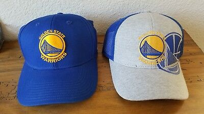 MINT Lot Of 2 Golden State WARRIORS NBA Blue YOUTH ADULT Velcro Hat Cap L@@K!