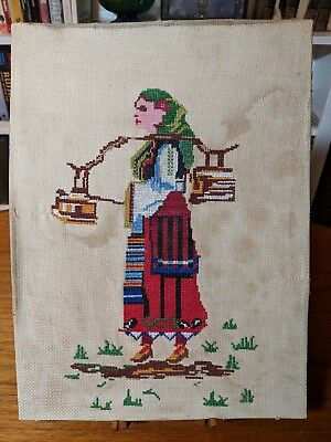 Vintage 1950s Bulgarian Folk Art Embroidered Cross Stitch Traditional Costume