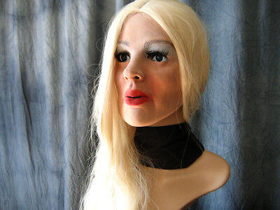 Foam Latex Mask MARY +WIG +LASHES - Realist. Rubber Gum Woman Face Sissy Trans