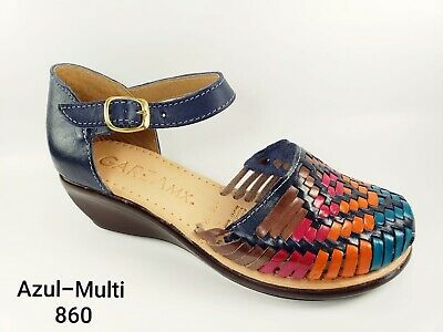 56b0d21ba247 Women s MEXICAN SANDALS Huaraches Azul Multicolor Style 860 Size 9