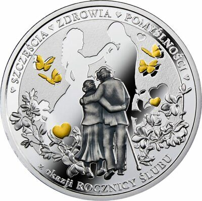 2018 WEDDING ANNIVERSARY $1 Gold Plated Proof Antique Silver Coin