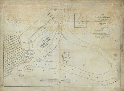 Map of Fort Brown Brownsville TX c1877 repro 32x24