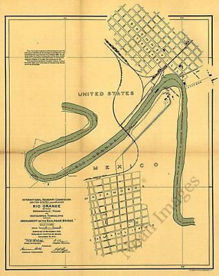Map of Brownsville TX and Matamoros Mexico c1910 repro 16x20