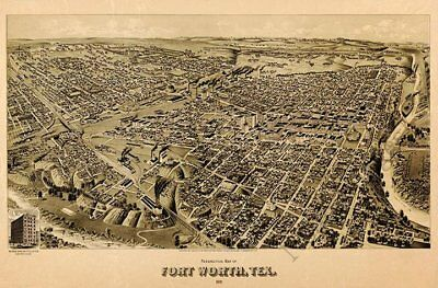 Perspective map of Fort Worth TX c1891 repro 30x20