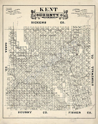 Map of Kent County TX c1888 repro 18x24