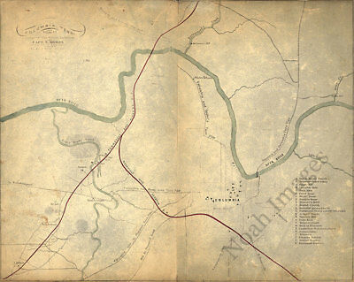 Map of Columbia TN c1863 repro 20x16