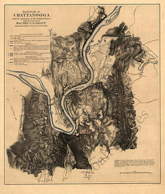 Map of Battlefield of Chattanooga TN c1863 repro 16x20