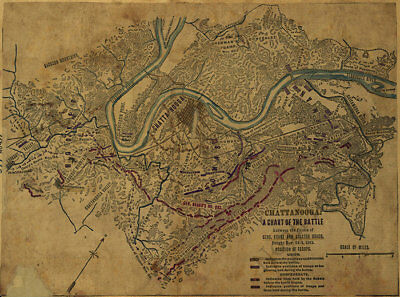 Battle between General Grant and Braxton Bragg at Chattanooga TN c1863 repro 19x