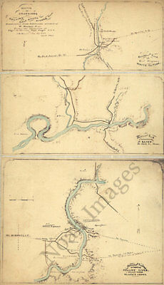 Sketch of crossings on Collins and Calf-Killer Rivers TN c1863 repro 12x20