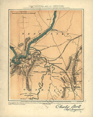 Map of Chattanooga and its defences TN c1865 repro 12x15