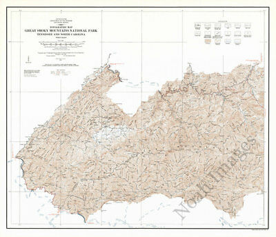 Topographic map of Great Smoky Mountains National Park West c1978 repro 28x24