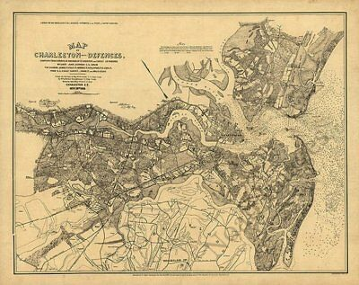 Map of Charleston and its defences SC c1885 repro 30x24