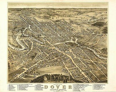 Dover NH c1877 panoramic map 30x24