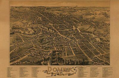 Dover NH c1888 panoramic map 36x24