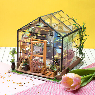 Rolife DIY Miniature Dollhouse Kits Green House Wooden Doll House Model Kits Toy