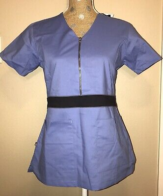 NWT Womens Medgear Stretch Scrub Set Ceil Blue XS With Color-Block Waistband