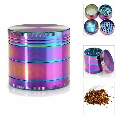 Metal Hand Herb GRINDER 4 Layers Rainbow Tobacco Smoke Muller Lid Pot Roll 50mm