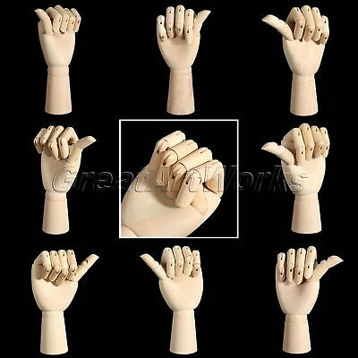Jointed Movable Fingers Wooden Right Left Hand Model Mannequin F Sketch Drawing