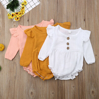 AU Toddler Baby Girls Long Sleeve Linen Bodysuit Romper Jumpsuit Autumn Outfits