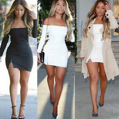 US Womens Sexy Bodycon Dress Off-Shoulder Evening Party Cocktail Club Mini Dress
