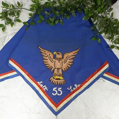 Vintage 1960's Eagle Scout Embroidered Neckerchief Scarf Salt Lake Troop 55