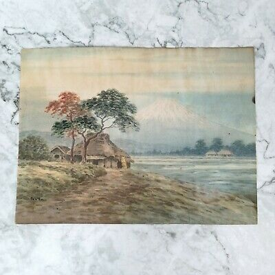 """Vintage Japanese Signed """"GATO"""" Mt. Fuji Landscape Watercolor Painting on Paper"""