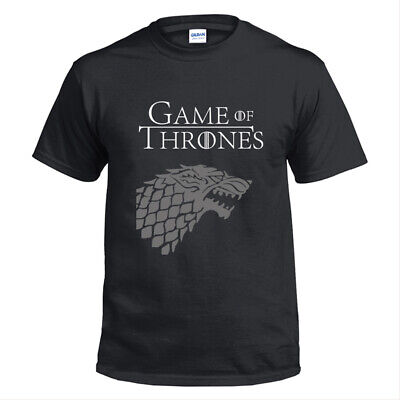 Game of Thrones House Stark of Winterfell Printed Black T-Shirt Casual Outfit