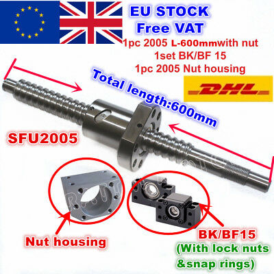 【In EU】SFU2005 L600mm Ballscrew+2005 Ballnut + BK/BF15 End support+ Nut housing