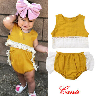 2019 Summer Toddler Kid Girl 2PCS Clothes Tassel Tops+Shorts Outfits Set Sunsuit
