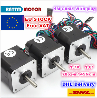 【EU】3Pcs Nema17 40mm CNC Stepper Motor 4-lead Cable Connect 3D Printer Milling