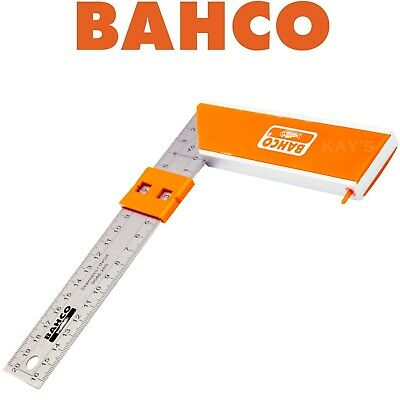 "BAHCO 8"" (200mm) TRY SQUARE, ALUMINIUM BLOCK WITH STAINLESS RULE BLADE 9048-200"