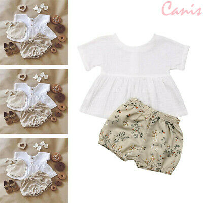 New Newborn Baby Kids Girl Summer 2Pcs Set Outfits Short Sleeve Tops+Shorts Cute