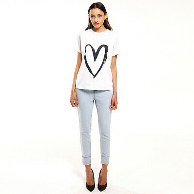 Female Tops Short Sleeve T-Shirts Crew Neck Tee Heart Shaped Casual Shirts BS