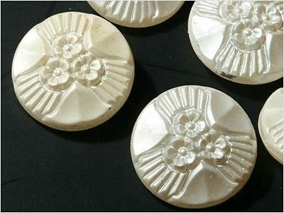 Lot (6) 23mm Czech Vintage faux pearl coated clear glass buttons